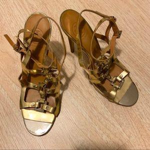 Tory Burch Francesca Gold Gladiator heels Size 9.5